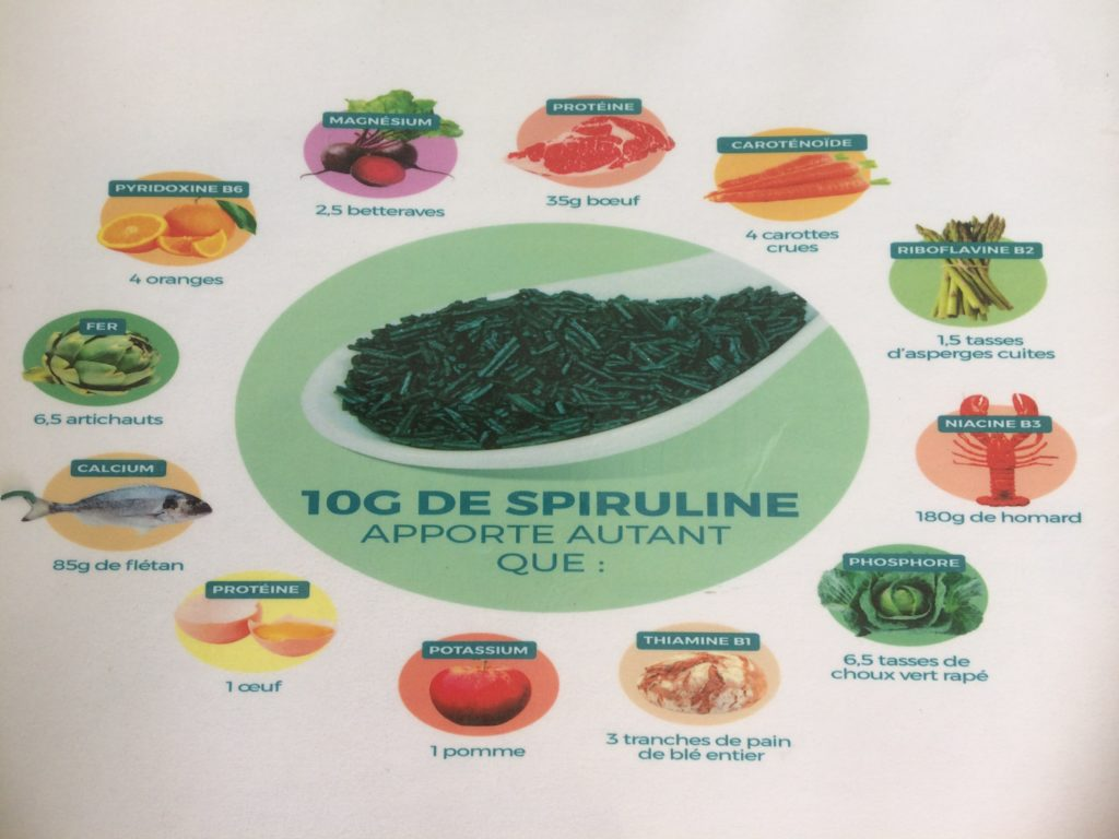 Comparaison nutritionnelle de 10 gr de spiruline et de nombreux aliments- Marie Duval sophrologue